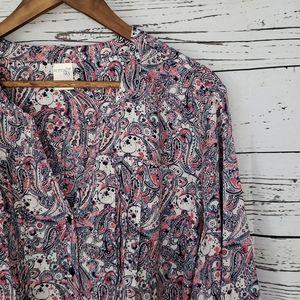 3/$15 terra & sky paisley print soring blouse 2X